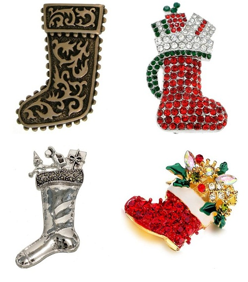 Boots for presents. Christmas Brooches & Pins decorated with Swarovski crystals
