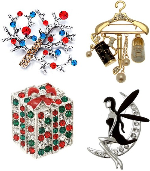 Colorful Christmas Brooches & Pins decorated with Swarovski crystals