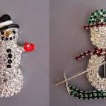 Swarovski Christmas snowmen pins