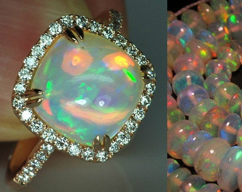 Diamond framed Opal