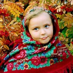 Girl wearing Pavlovsky Posad Shawl