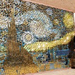 "Creative art – Brass door handle mosaics ""Starry Night"" made by American craftsman David Goldberg"