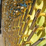 "Made by American craftsman David Goldberg mosaics of Brass door handles – ""Starry Night"""