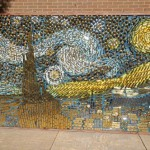 "Mosaics from Brass door handles ""Starry Night"" made by American craftsman David Goldberg"