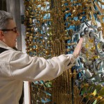 "Inspired by ""Starry Night"" Brass door handle mosaics made by American craftsman David Goldberg"
