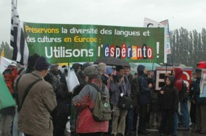 Demonstration of french activists against language discrimination in the European Union and for the introduction of Esperanto as a neutral language. 2004
