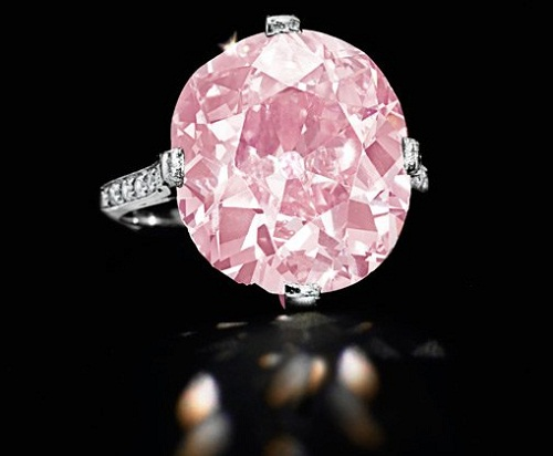 "A rare 9-carat pink diamond ring, known as ""the Clark Pink"" and belonging to Huguette Clark is shown in this undated handout photo"