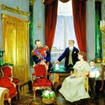 "Perevyshko A.I. ""Karl Faberge presents egg to Emperor Nicholas II, in the presence of Alexandra and Tsarevich Alexei"""