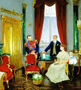 "Perevyshko A.I. ""Karl Faberge presents egg to Emperor Nicholas II, in the presence of Alexandra and Tsarevich Alexei"""