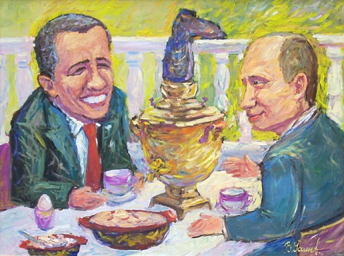 Putin and Obama. Naive art by Vladimir Usatov