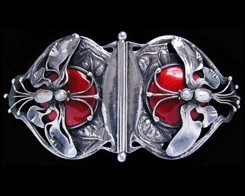 Silver and enamel buckle set mother-of -pearl formed as two winged dragonflies