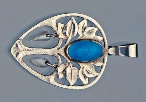 Tree Pendant. Silver Enamel Pearl