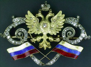 Brooch from the Cabinet of His Imperial Majesty. Gold, silver, diamonds, enamel on a guilloche background. Faberge. Russia, St. Peterbug, early XX century.