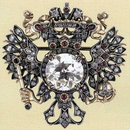 Brooch in the form of the imperial eagle. Gold, platinum, diamonds, rubies, diamonds. Faberge. Russia, Moscow, 1913. In the original case.