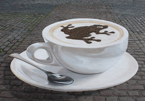 Would you like a cup of Cappuccino? 3-D asphalt painting by German artist Manfred Stader