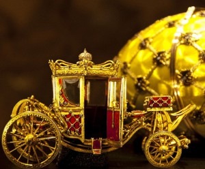 gold carriage, yellow faberge egg, vatican