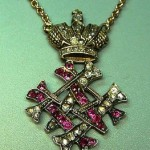 """Pendant with the monogram of Grand Duchess Maria Maksimilyanovna. Gold, rubies, diamonds cut """"rose"""". Faberge. Russia, St. Petersburg, the end of XIX century. Russian National Museum"""