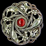 Guild of Handicraft Bird Brooch, Silver & garnet, 1900