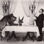 Alfred Hitchcock with the MGM Lion