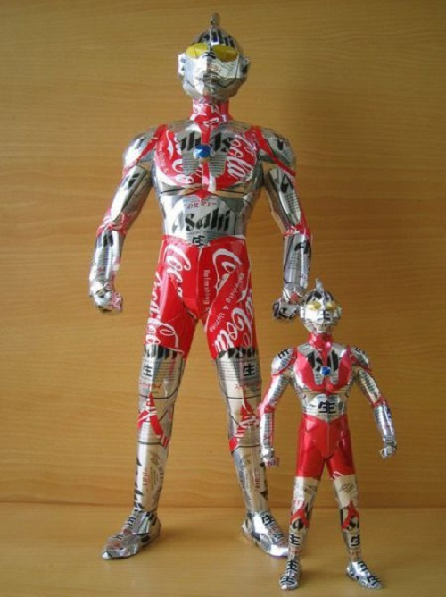 Super heroes. Aluminium can sculpture by Japanese artist Macaon