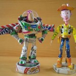 Cartoon characters made from aluminum cans created by Japanese artist Macaon