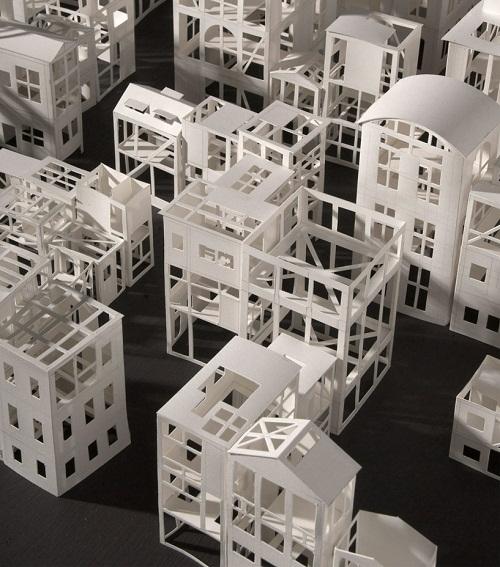 Closeup of paper city. Architectures de papier exhibition in the Architecture Museum (Cite de l'architecture) in the Palais de Chaillot at Trocadero
