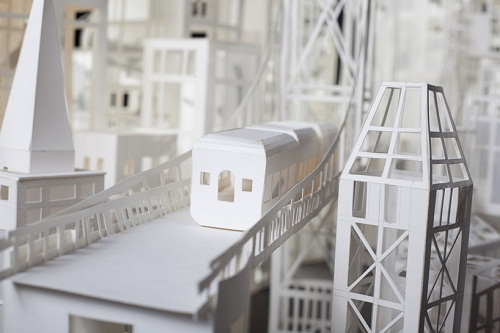 Detail of paper architecture, the bridge