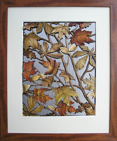 Autumn Leaves, made of solid pine boards, as through the grille .. technique of author – slotted volume mosaic. Decorative art by Ukrainian artist Anatoly Obelets