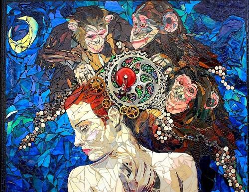 Three wise monkeys. Beautiful mosaic by American artist Laura Harris