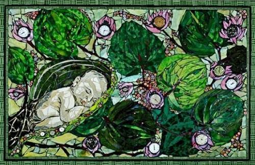 Sleeping baby. Beautiful mosaic by American artist Laura Harris