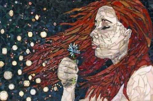 Dandelion. Beautiful mosaic by American artist Laura Harris