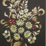 Bouquet, made ​​of natural straw cereals using pyrography