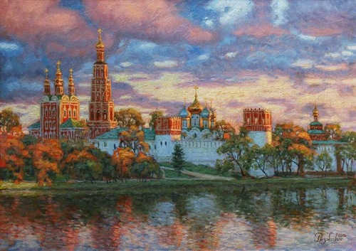Embankment of the Moskva river. Oil on canvas, painting by Igor Razzhivin