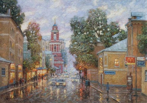 Oil on canvas, Moscow street