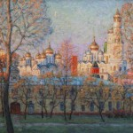 Gold domes of Moscow streets. Oil on canvas