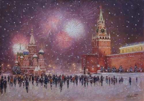 Red Square. Christmas time. Oil on canvas