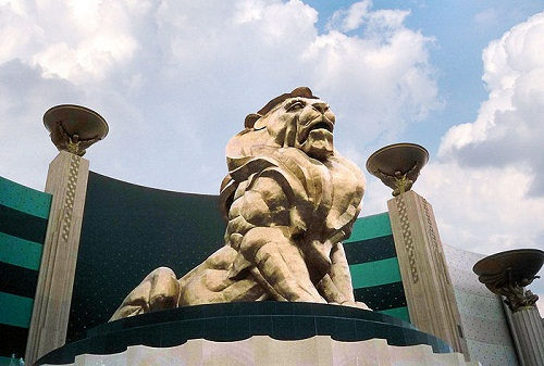 Company logo at the entrance to the hotel and entertainment complex MGM Grand (Las Vegas)
