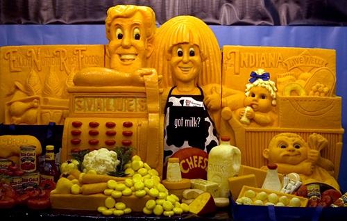 Cartoon characters. Creative cheese sculpture by American artist Sarah Kaufmann