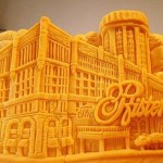 Architecture made of cheese. Creative cheese sculpture by American artist Sarah Kaufmann
