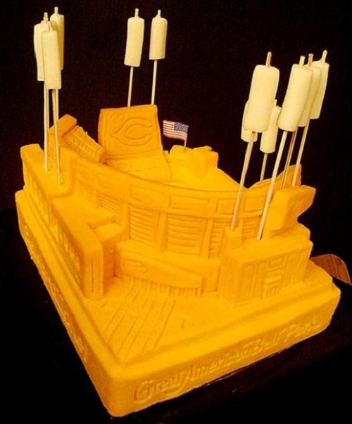 Stadium. Creative cheese sculpture by American artist Sarah Kaufmann
