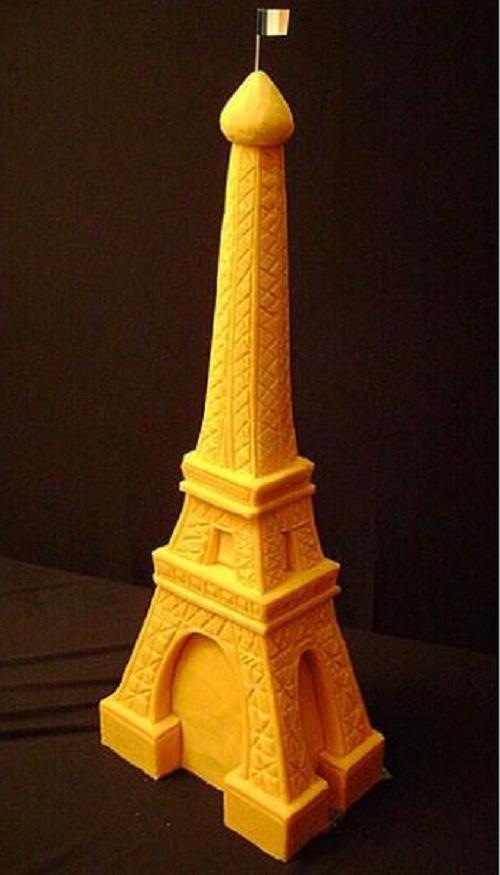 Eiffel Tower. Creative cheese sculpture by American artist Sarah Kaufmann