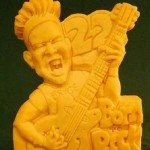 Bryce born rock. Cheese sculpture by American artist Sarah Kaufmann