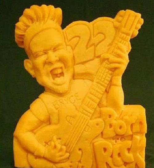 Bryce born rock. Cheese sculpture by American artist Sarah Kaufmann