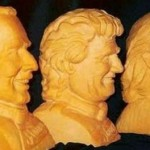 Busts of noble men. Creative cheese sculpture by American artist Sarah Kaufmann