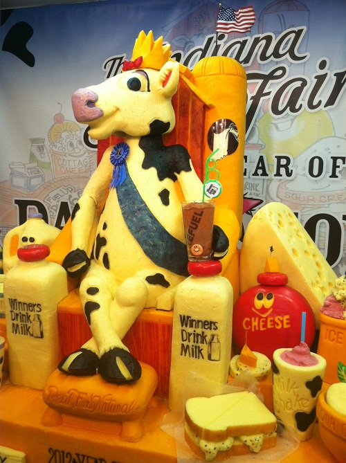 A cow happily sitting next to Creative cheese sculpture by American artist Sarah Kaufmann