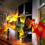Evening illumination of Glass garden