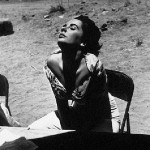 Elizabeth Taylor sunning herself on the set of 'Giant', Marfa, Texas, 1955