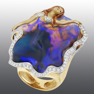 "Exclusive Ring ""Paso Doble"" handmade with opal, decorated with enamel and diamonds"