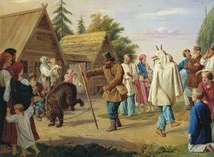 Franz Riss Skomorokhs in a village