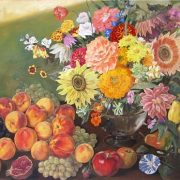 Fruit and flowers. Still life. Oil on canvas. 2006